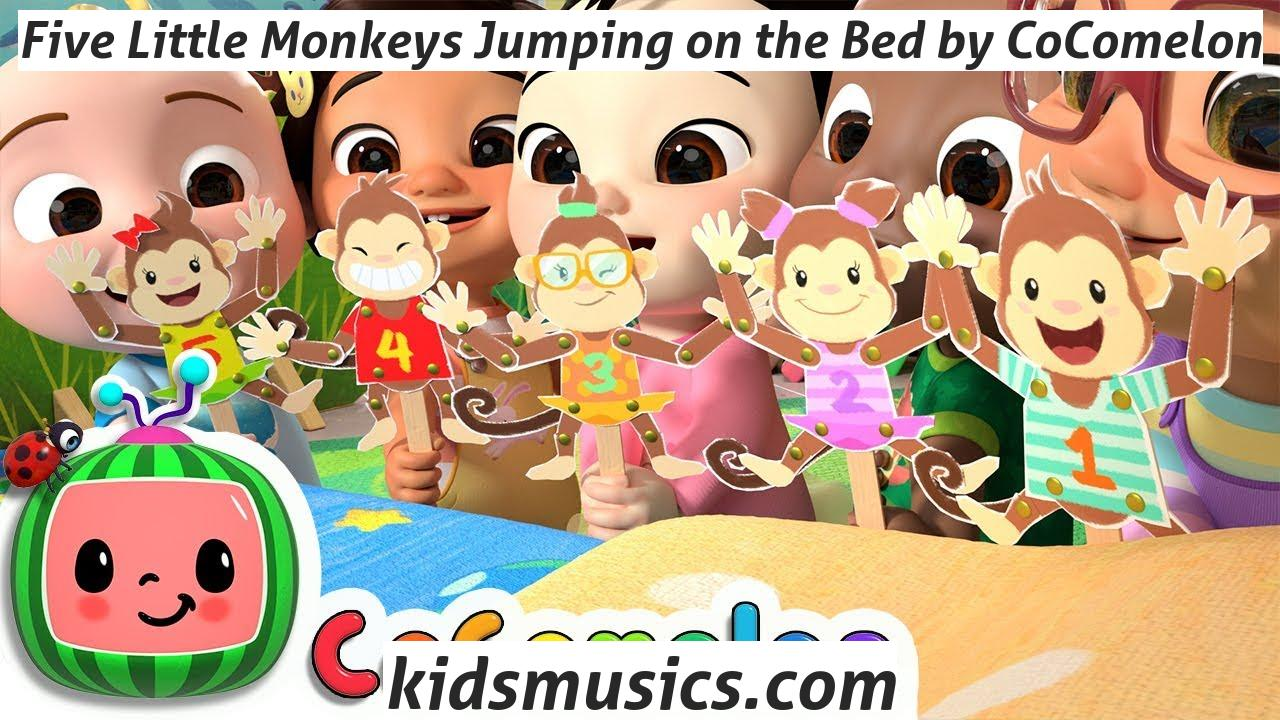 Kidsmusics Five Little Monkeys Jumping On The Bed By Cocomelon Free Download Mp4 Video 720p Mp3 Pdf Lyrics Kids Music